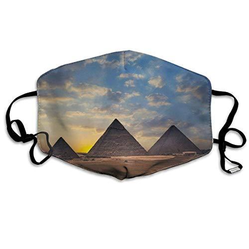 Daawqee Mund Maske, Egyptian Pyramid Sunset Cloud Desert Adult Creative Anti Staub Schutzhülle Washable Safety 100% Polyester Comfortable Breathable Health Half Face Masks -