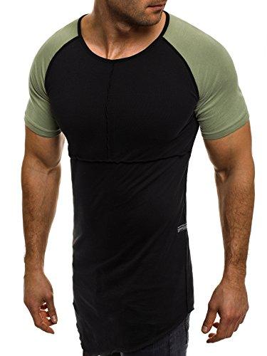 OZONEE Herren T-Shirt mit Motiv Kurzarm Rundhals Figurbetont BLACK WHITE 1094 Schwarz-Grün_ATH-1112