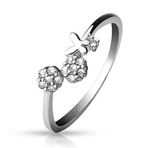 Tapsi´s Coolbodyart Zehen Ring 925 Sterling Silber Zirkonia Verstellbar Schmetterling