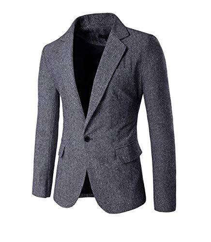 Slim Fit Sportlich Herren Tweed Herringbone Freizeit Männer Modernas Lässig Casual Anzugjacken Blazer Sakko Slim Fit Nner (Color : Hellgrau, Size : XS) -