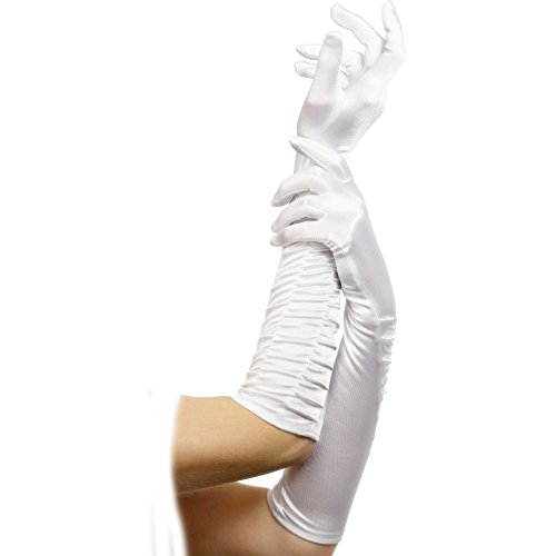 German Trendseller® - Damen Handschuhe Deluxe Weiß glänzend lang (Lange Weiße Handschuhe)