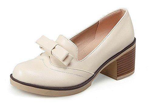 AgooLar Damen Ziehen Auf Rund Zehe Mittler Absatz Pu Leder Rein Pumps Schuhe Cremefarben