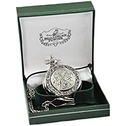 Mullingar Pewter Pocket Watch With Celtic Design And Border
