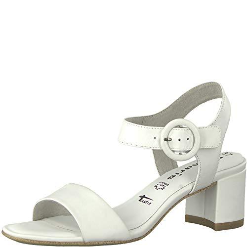 Tamaris Damen 1-1-28324-22 Riemchensandalen, Weiß (White Leather 117), 41 EU