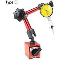 Soporte de soporte de base magnética Mini indicador de prueba de dial flexible universal Herramienta de indicador de soporte de indicador de corrección magnética - Amarillo y rojo