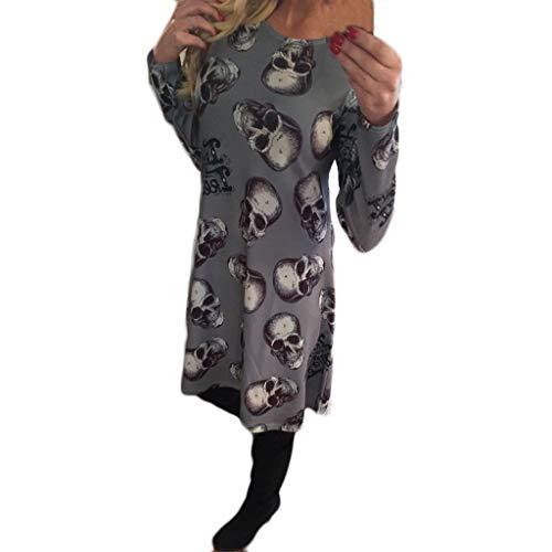 Halloween Kostüm Damen Schädel Drucken A-Linie Kleider Kurz Langarm Rundhals Einteiler Freizeitkleider Karneval Party Maskerade Mottoparty (2XL, Grau) (Einzigartige Schädel Kostüm)