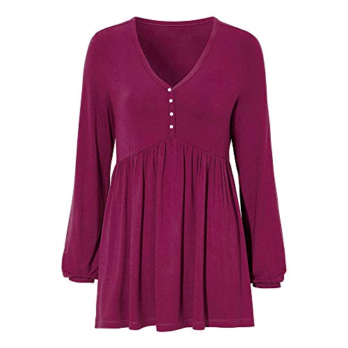 OSYARD Damen Laterne Hülse Knopf Bluse, Frauen Solide Reihe Falten V-Ausschnitt Lange Laterne Ärmel Rüschen Kleidung T-Shirt Tops Pullover (2XL, Wein)