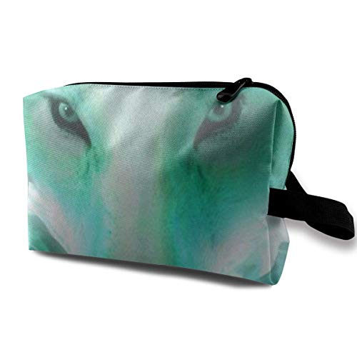 Neon Wolf Luminous Portable Travel Makeup Cosmetic Bags Organizer Multifunction Case Toiletry Bags Neon Soft Shell