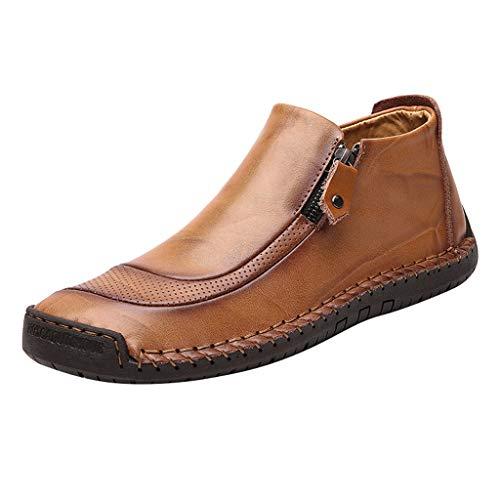 Herren Casual Flache Lederschuhe, Selou New Comfort Slip On Lederstiefel Laufschuhe Männer Keilabsatz Active Barefoot Business Rockabilly Elegant Outdoor Sneaker