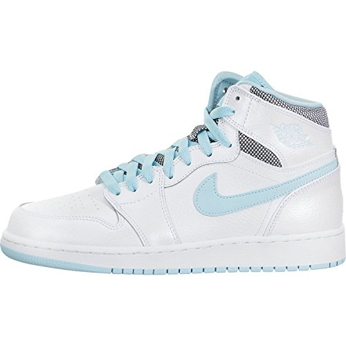 Jordan Nike Kids Air 1 Retro High GG White/White Still Blue Basketball Shoe 4.5 Kids US