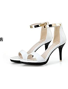 Le Donne Sono Sandali Con Tacco Alto Di Metallo 6-8Cm Estate,White,Eu35
