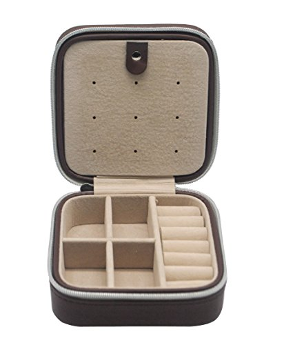 JOYOOO Cream Faux Leather Portable Travel Jewellery Box Case For Earring/Ring/Necklace etc (Braun) (Leder-reise-tray)