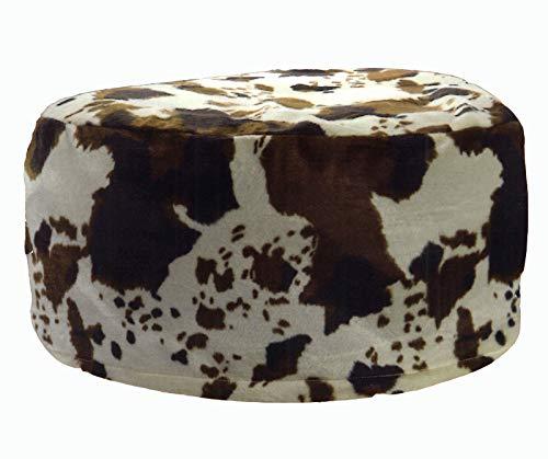 heimtexland® Pouf Vaca Asiento Taburete Hinchable Saco de Asiento Aspecto De Pelo De Animal typ605, poliéster, Blanco, 25 x 55 cm