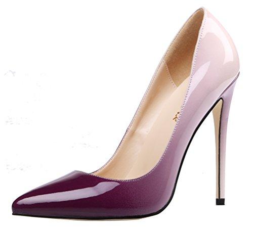 AOOAR Damen Gradient Lackleder Stiletto Pumps Violett & Beige EU 35