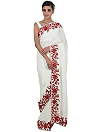 Talking Threads Crepe Saree with Blouse Piece (TT-11475SAPWKAL_Ivory_Free Size)