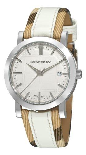 Burberry Femme Bu1379Nova Check à Carreaux avec Bracelet Cuir Blanc Montre