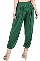 Myshka Womens Green Solid Cotton Lycra Harem Pants_HM011Green-free
