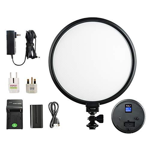 VILTROX VL-500T 10 Zoll LED Soft Videoleuchte Bi-Color 3300K-5600K Dimmbar Videolicht Dauerlicht LED Portrait Licht for Photography mit Akku und Netzteil