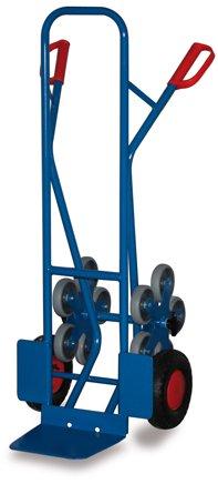 "Stahlrohr Treppenkarre mit 2 fünfarmigen Radstern 200 kg, Luftbereiftbereift, \""MADE by VARIOFIT\"", Stapelkarre, Transportkarre"