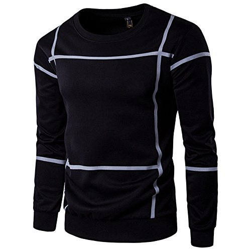 Big Daoroka Herren Langarm Pullover Pullover Outwear Mantel Gestreift Herbst Winter Warm Tops Jacke 3XL schwarz 1/4 Zip Windshirt