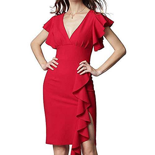 YuJian12 FeiXing158 Sommer Rüschen Ärmel Kleid mit Reißverschluss Frau Sexy V-Ausschnitt Midi Kleider Chic Arbeit Bleistift Kleider S 3XL - Kleider Pie Mud