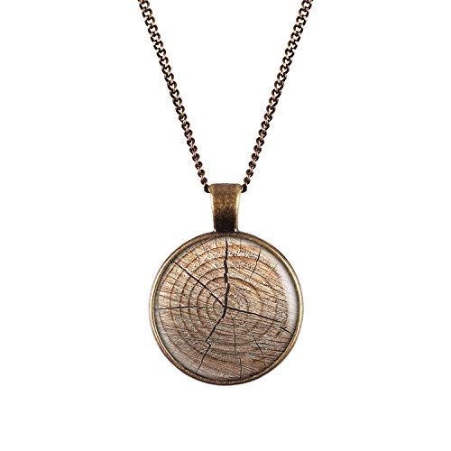 Mylery Hals-Kette mit Motiv Holz-Struktur Baum-Stumpf Holz-Maserung bronze 28mm (Holz Stümpfe)