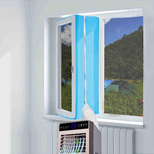 Aozzy 400cm guarnizione universale per finestre per condizionatore portatile, asciugatrice - per tutti condizionatori portatili, facile da montare - con zip, chiusura a strappo(blu)