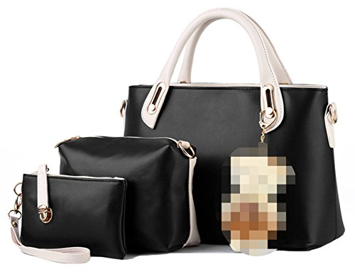 Donne Di Cuoio Di Cucitura PU Three-piece Borse Black