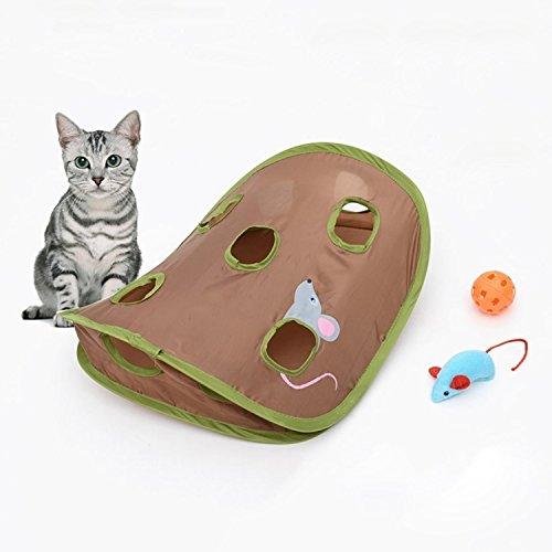 Happy-L Heimtierbedarf, Mäuselochstock mit Glocken Lustiges Katzenspielzeug, das interaktive Mäusejagd Katzenspielzeug greift