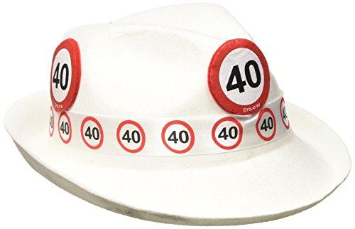 arty Hut - Verkehrszeichen 40 Jahre, Unisex-Erwachsene, Weiß, Einheitsgröße ()