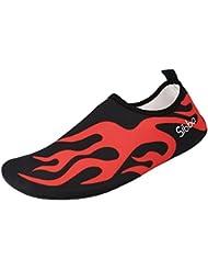 Unisex Zapatos de Agua de Aatación Calzado de Agua Calzado de Surf Calzado de Playa (negro, L)