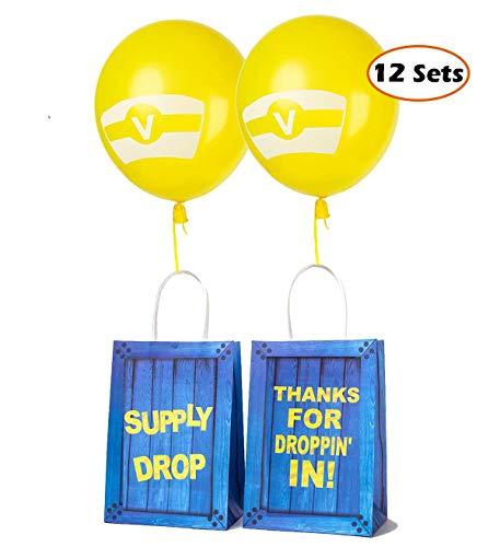 Geburtstag Party Papier Geschenktüten mit Latexballons Set - Party Ballons Party Favors Taschen für Kinder Geburtstag Game Party Supplies Dekorationen - 12 Sets ()