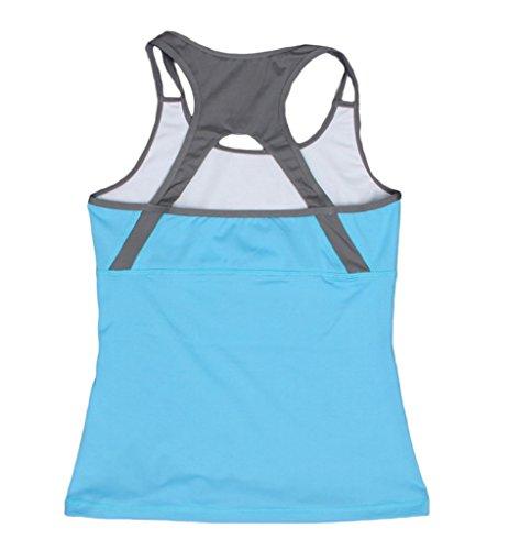 Bigood Slim Top Femme Débardeur Sport T-shirt sans Manche Épaule Nu Course Yoga Bleu
