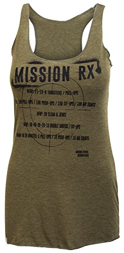 Jumpbox Fitness Mission RX (Mädchen Benchmark Wods) - Frauen Military Grün Tri Blend Racerback Workout Tank Top, Damen, Military Green, Large