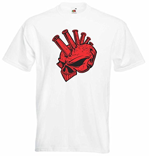 T-Shirt D791 T-Shirt Herren schwarz mit farbigem Brustaufdruck - Design Tribal Comic / abstrakte Grafik / Schädel Totenkopf Punk mit Irokese Schwarz