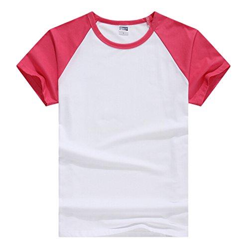 Butterme Unisex Damen Männer Casual Kurzarm Lycra Baumwolle Baseball T-Shirt Raglan Jersey Shirt (Schwarz-Damen,L) Hot Pink-Herren