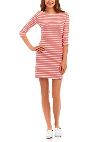 oodji Ultra Damen Jersey-Kleid Basic, Rot, DE 32 / EU 34 / ()