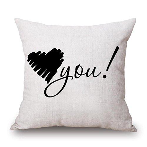 Taies d'oreiller La Saint Valentin, Quistal Cotton Linen Square Throw Pillow Case Decorative Cushion Cover Pillowcase for Sofa Amour Doux Printed 45cm*45cm (B)