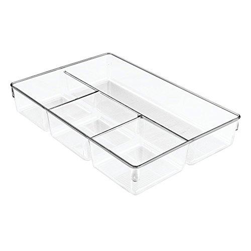 InterDesign Linus Schubladenbox für Schrank oder Schminktisch, 33,0 cm x 22,9 cm x 5,7 cm Aufbewahrungsbox mit 4 Fächern aus Kunststoff, durchsichtig (Schublade Organizer Box)