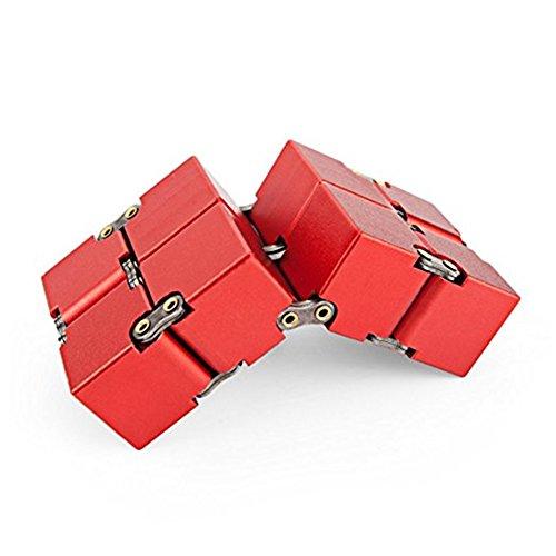 KENROLL Infinity Fidget Magic Cube Sensory Toy Alluminio Puzzle Box Design Anti Stress e sollievo di ansia Promuove la messa a fuoco, la chiarezza (Rosso) - 4