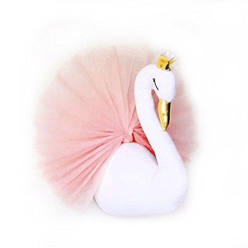 Leoboone Lindo 3D Golden Crown Swan Wall Art Hanging Girl Cisne Muñeca de Juguete de Peluche Cabeza de Animal Decoración de Pared para Niños Habitación Regalo de cumpleaños