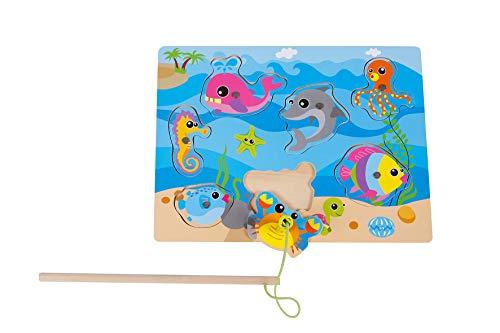 2-Play Angelspiel aus Holz, bunt (1 Angel und Fische, magnetisch), Größe 30 x 22,5 cm - hochwertiges Holzspielzeug mehrfarbig - 610070