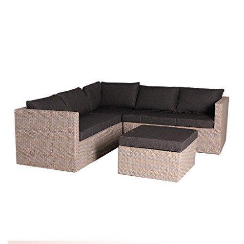 OUTLIV. Gartenlounge Polyrattan Gibson Loungemöbel Garten Outdoor Geflecht Mixed Brown / Royal Blenden Black Lounge-Set