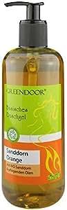 500ml Greendoor Basisches Natur Duschgel Sanddorn Orange, biologisch abbaubar, mit Bio Sanddorn, aus der Naturkosmetik Manufaktur, ohne Sulfate, ohne Silikon, ohne Parabene, natural outdoor geeignet