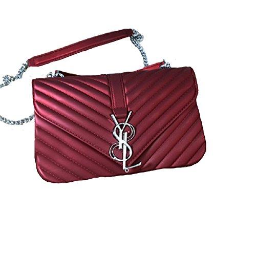 2018 Mode Damen Matte Frosted Jelly Bag Kette Tasche Schulter Messenger Bag Handtasche Mini Bag(Weinrot-M) (Rote Bag Mini-messenger)