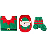Hot 3 Pieces Christmas Decoration Snowman Style Toilet Seat Cover For Bathroom Deer Horse/fairy Horse series Available