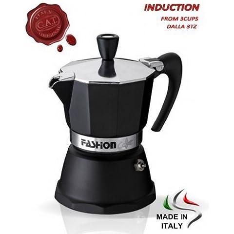 GAT Fashion 2tazze in alluminio Stove Top Espresso Macchina Per Il Caffè, in nero