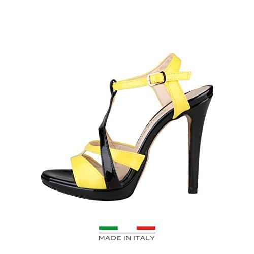 Made In Italia - Iolanda - Sandali tacco alto con cinturino - Donna Nero/Giallo