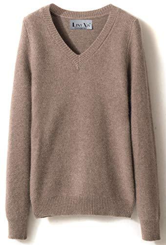 LinyXin Cashmere Damen Kaschmir Rollkragen Pullover Wolle Langarm Freizeit Winter Warm Pulli Sweater (XL / 46-48, Tan) -