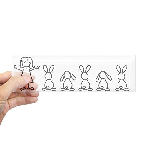 CafePress-5Hasen Familie Aufkleber (Crazy Bunny Lady Edition-25,4x 7,6cm Rechteck Bumper Aufkleber Auto Aufkleber farblos Lady-flasche